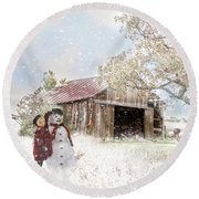 Round Beach Towel featuring the photograph Farmstyle Snowman by Mary Timman