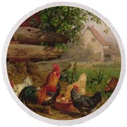 Farmyard Chickens Round Beach Towel by Carl Jutz