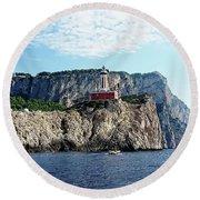 Faro Lighthouse - Ise Of Capri Round Beach Towel