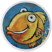 Farting Fish Round Beach Towel