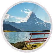 Fascinating Landscape With Bench Near The Lake On The Background The Matterhorn In The Swiss Alps An Round Beach Towel