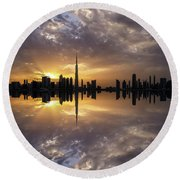 Fascinating Reflection In Business Bay District During Dramatic Sunset. Dubai, United Arab Emirates. Round Beach Towel