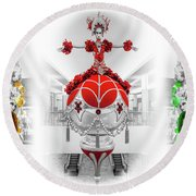 Fashion Show Christmas Ornament Collection Round Beach Towel