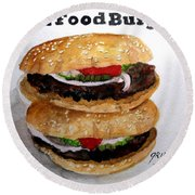 Fast Food Burgers Round Beach Towel