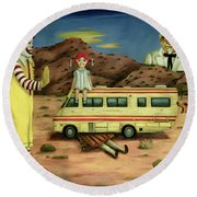 Fast Food Nightmare 5 The Mirage Round Beach Towel by Leah Saulnier The Painting Maniac