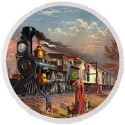 Fast Mail 1875 Round Beach Towel by Padre Art
