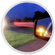 Fast Traffic Reflections #6242 Round Beach Towel by Barbara Tristan