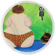 Fat Cats Round Beach Towel