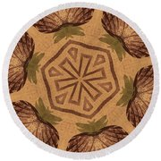 Fat Pineapple And Star Round Beach Towel