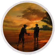 Father And Son Fishing Round Beach Towel