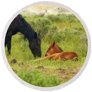 Father And Son Horse Love Round Beach Towel