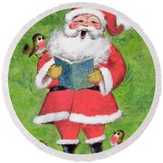 Father Christmas And Robin Chorus Round Beach Towel by Stanley Cooke