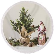 Round Beach Towel featuring the photograph Father Christmas by Kim Hojnacki