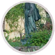 Father Junipero Serra Statue At Mission Carmel Round Beach Towel