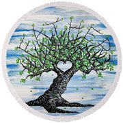 Round Beach Towel featuring the drawing Father Love Tree by Aaron Bombalicki