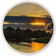 Father's Day Sunset Round Beach Towel by Robert Bales