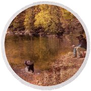 Father,son And Dog Round Beach Towel