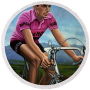 Fausto Coppi Painting Round Beach Towel