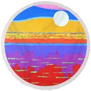 Fauvist Sunset Round Beach Towel