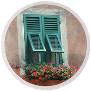Faux  Painting Window  Round Beach Towel