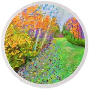 Favorite Fall Scene Round Beach Towel