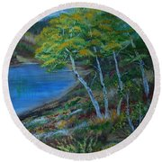 Round Beach Towel featuring the painting Favorite Fishin' Hole by Leslie Allen