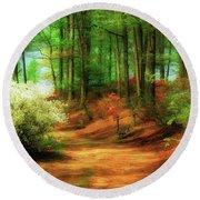 Favorite Path Round Beach Towel by Lois Bryan
