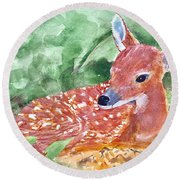 Fawn 2 Round Beach Towel
