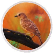 Fawn Breasted Bower Bird Round Beach Towel