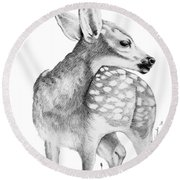 Fawn Round Beach Towel by Lawrence Tripoli