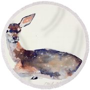Fawn Round Beach Towel by Mark Adlington