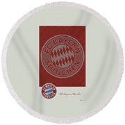 Fc Bayern Munich Logo And 3d Badge Round Beach Towel by Serge Averbukh