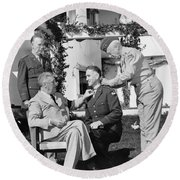 Round Beach Towel featuring the photograph Fdr Presenting Medal Of Honor To William Wilbur by War Is Hell Store