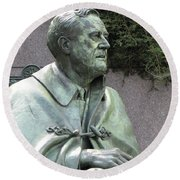 Fdr Statue At His Memorial In Washington Dc Round Beach Towel