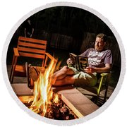 Round Beach Towel featuring the photograph Fear By Fire by T Brian Jones