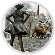 Fearless Girl And Wall Street Bull Statues 5 Round Beach Towel