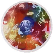 Round Beach Towel featuring the mixed media Fearless Girl Wall Street by Dan Sproul