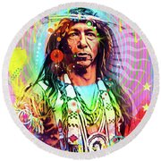 Feather Chief Round Beach Towel by Gary Grayson