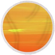 Feather Cloud In An Orange Sky  Round Beach Towel