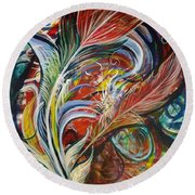 Feather Fury Round Beach Towel
