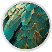 Feather Glitter Turquoise Round Beach Towel