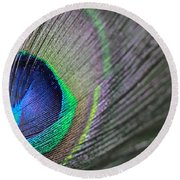 Feather In Green Round Beach Towel