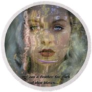 Feather In The River Round Beach Towel
