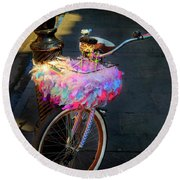 Round Beach Towel featuring the photograph Feather Jazz Bicycle by Craig J Satterlee