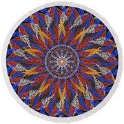 Feather Mandala Iv Round Beach Towel