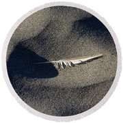Feather On The Beach Round Beach Towel by Jane Eleanor Nicholas