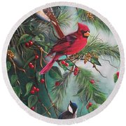 Feathered Friends  Round Beach Towel