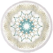 Round Beach Towel featuring the digital art Feathers And Catkins Kaleidoscope Design by Mary Machare