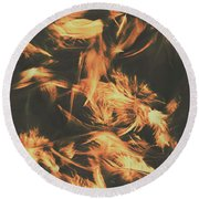 Feathers And Darkness Round Beach Towel