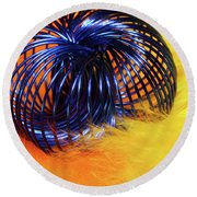 Feathers And Jewelry  Round Beach Towel